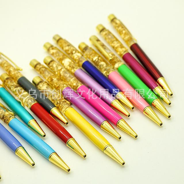 厂家直销 金箔笔水晶笔 圆珠笔金属签字笔广告礼品笔激光刻字定制