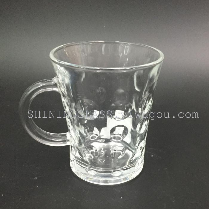 新款收腰圆点玻璃杯 啤酒杯 咖啡杯 奶茶杯 带把果汁杯子