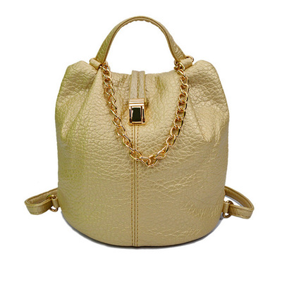 Fashionable car suture shoulders female bag lady bag hardware hand chain bucket bag's main photo