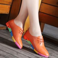 跨境春季大码女鞋真皮妈妈孕妇鞋休闲外贸单鞋护士大码豆豆鞋