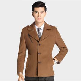 2020秋冬韩版男装男士羊毛呢大衣西装领中长款双面呢羊毛外套