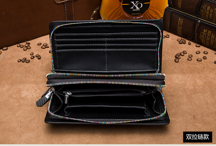 The High-end Handbags Series of Men's Personality Color Customized Zipper Carbon Fiber Large Capacity Gift for Male Double Zipper Long Wallet Handbag