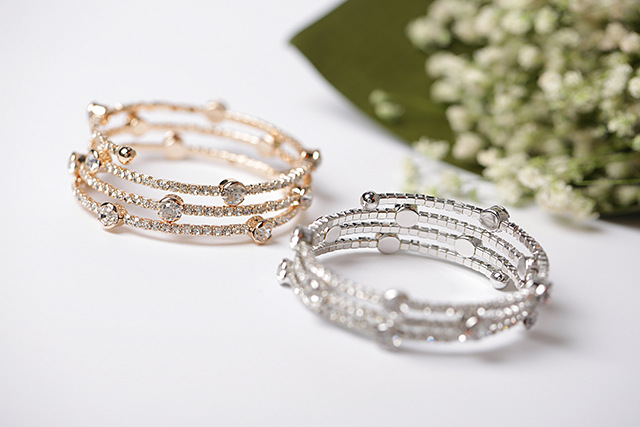 Rhinestone three-layer bracelet multi-layer elastic bracelet women's bracelet decoration NHMS195705