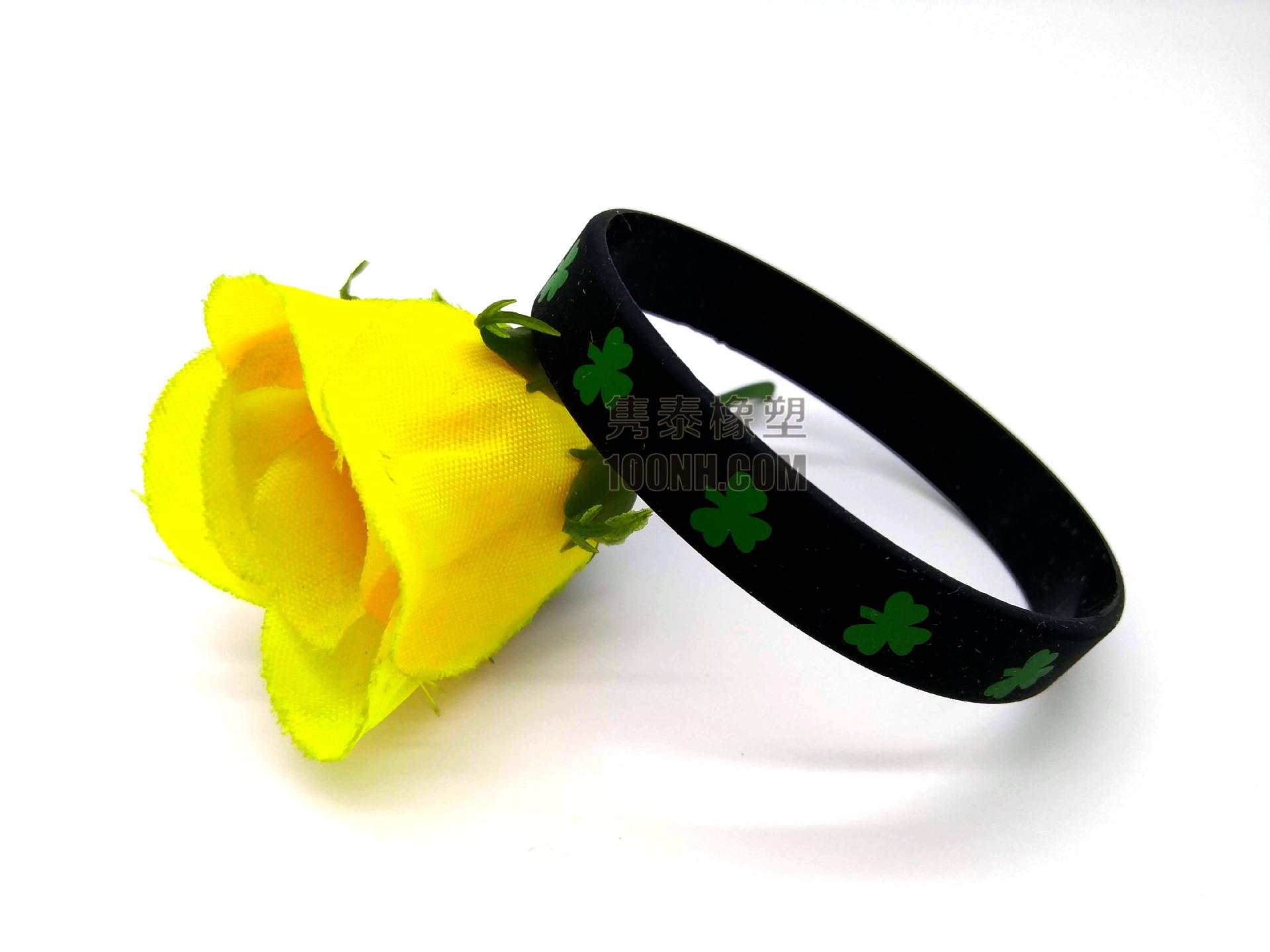 四叶草平面印刷硅胶手环 丝印绿色叶子图案幸运草手链手圈手腕带