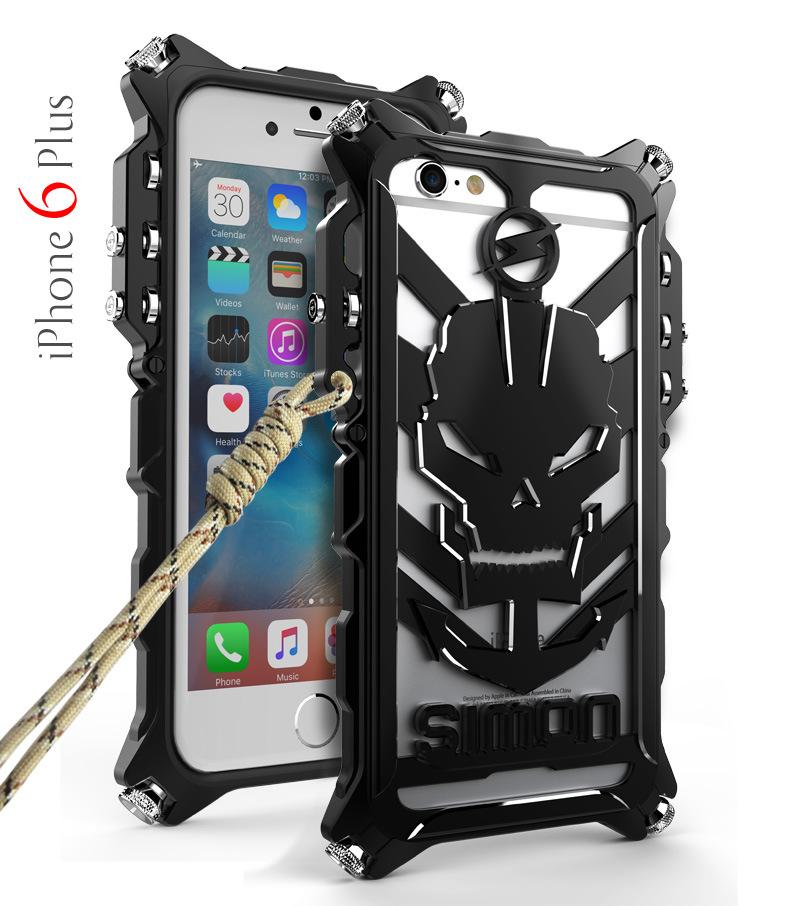 SIMON Mechanical Arm Skull Punk Premium Aluminum Metal Bumper Shockproof Case Cover for Apple iPhone 6S/6 & iPhone 6S Plus