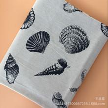 简约贝壳海螺棉麻桌布 地中海洋印花 厂家直销亚麻布料 外贸家纺