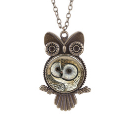 Popular punk retro owl time gemstone glass necklace European and American popular clothing sweater chain batch