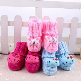 新生儿手工毛线鞋 可爱卡通婴儿鞋棉 卡通动物毛线宝宝鞋子批发