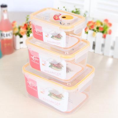 酒店塑料方形保鲜盒 中式卡通密封防滑便当盒 隔热耐高温透气饭盒