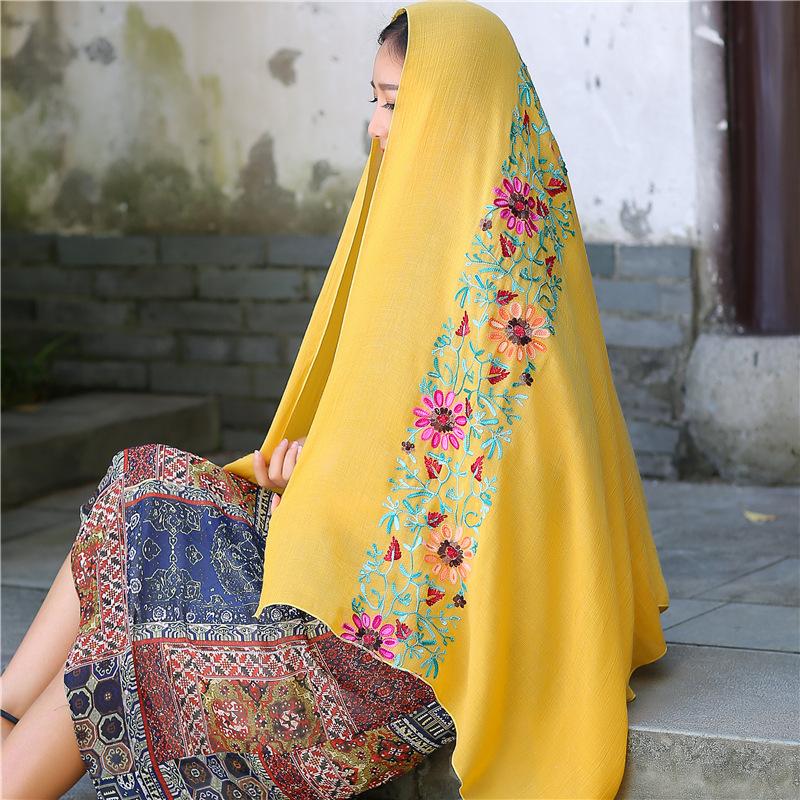 刺绣亚麻花朵尼伯尔棉麻围巾空调防晒两用春夏季丝巾女民族风披肩