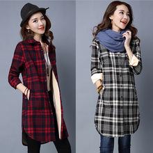 加绒格子长袖衬衫女韩版中长款宽松秋冬女装保暖衬衣女士棉上衣
