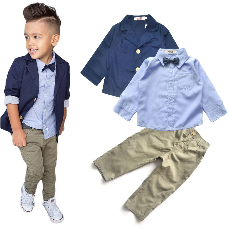 16c9986cc192 New Autumn And Winter Boys Suit Children Shirt with Jacket And Pants ...
