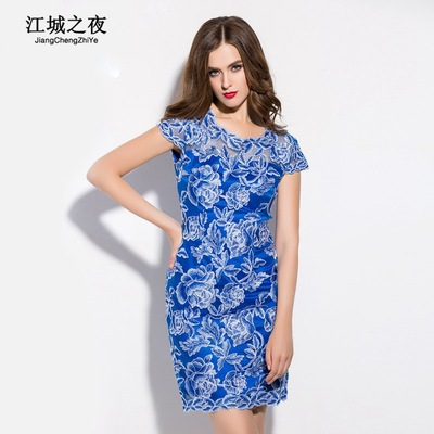 European station embroidery flower collar short-sleeved gauze dress 2016 Summer Europe and the United States new high-end brand boutique women