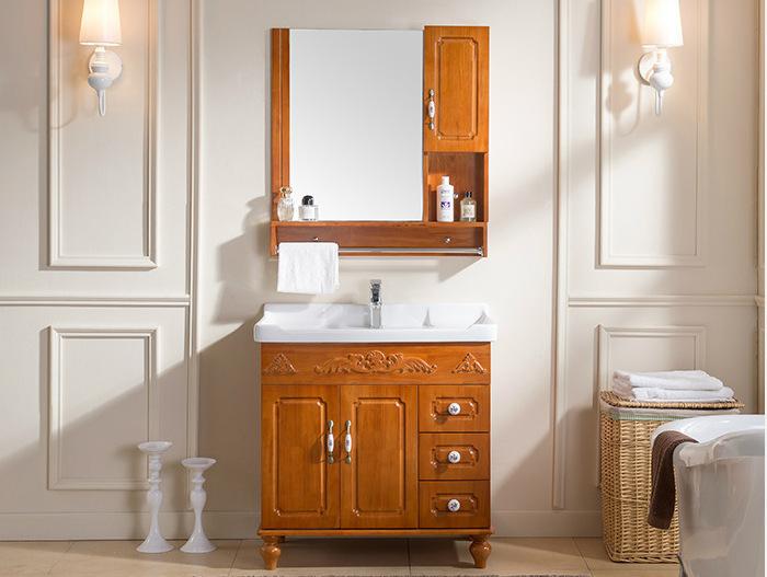 批发实木卫生间洗漱台洗脸盆洗手落地卫浴浴室柜组合橡木镜柜现货