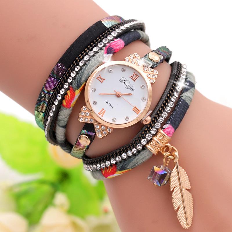 Đồng hồ nữ dệt kim nylon Canvas Hàn Quốc Nhung kim cương vàng lá quấn dây đeo tay