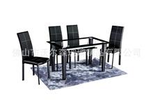 钢化玻璃现代简约黑色餐桌 烤漆时尚餐桌椅组合