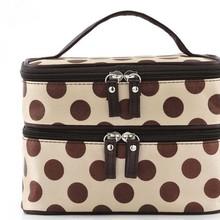厂家定制2016新款韩版双层化妆包可爱圆点女包手提防水收纳包包
