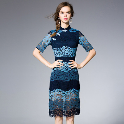 2016 spring and summer women new button collar sleeve romantic lace skirt dress J604401