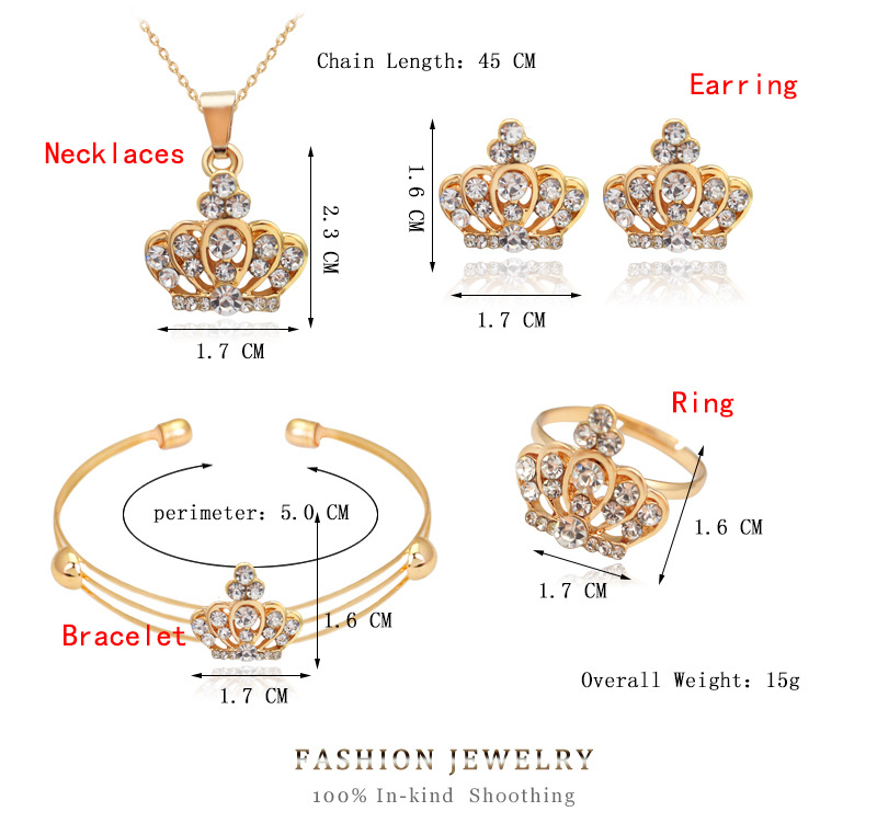 Luxury jewelry set style exquisite four-piece crown type jewelry hot sale wholesale nihaojewelry NHDR225307