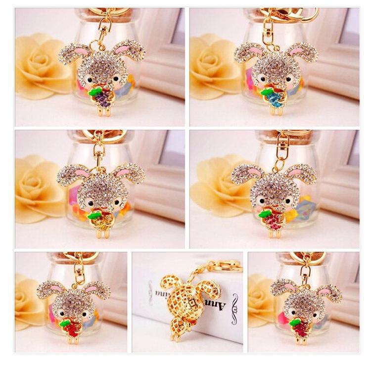 Korean  creative cute diamond long ear rabbit keychain  NHAK267062