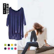 外貿韓國女裝夏季莫代爾打底衫寬松大碼蝙蝠袖五分中袖女T恤批發