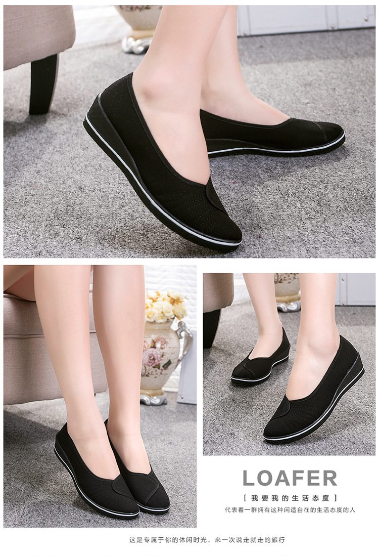 Female with slope Comfortable Soft Work shoes Beauty Dance Canvas shoes Black