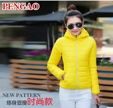 Autumn And Winter Warm Cotton Padded Clothes Women's Short Hooded Fit Fashion Women's Small Cotton Padded Jacket