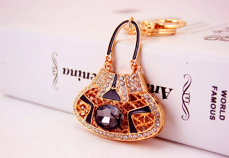Fashion crystal rhinestone new satchel bag  key chain  NHAK266945