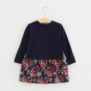 Korean winter, side opening a floral dress stitching factory direct wholesale