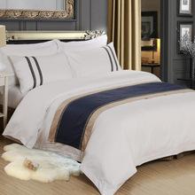 五星级酒店床上用品套件纯棉宾馆全棉贡缎三四件套logo加工定做