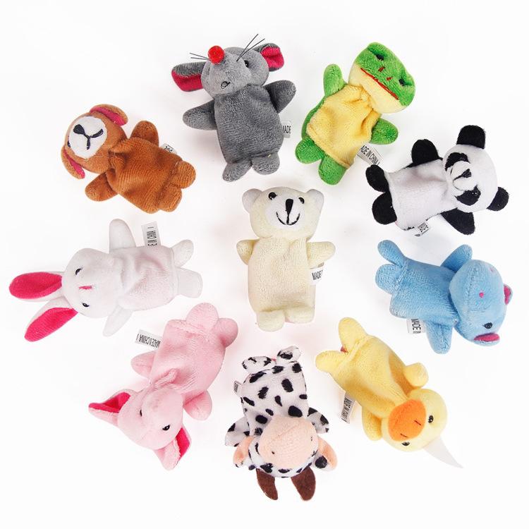 跨境儿童玩具 儿童节礼品 创意手指偶双层带脚10款动物指偶手偶