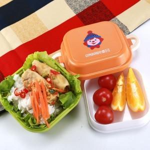 Lúa mì rơm phim hoạt hình trẻ em động vật hộp ăn trưa hộp ăn trưa đôi hộp hoa quả nhỏ (8002) Hộp chiên, hộp ăn trưa