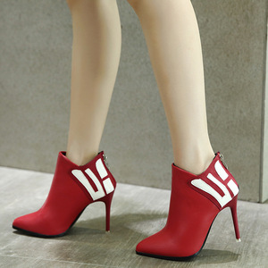 Sexy ultra high heels pointed fine female boots with color matching zipper high-heels