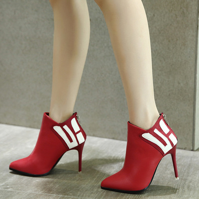 Sexy ultra high heels pointed fine female boots with color matching zipper high-heels's main photo