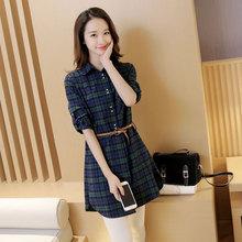2017夏季韩版新款女装 长袖系带中长款格子衬衫百搭格纹衬衣潮