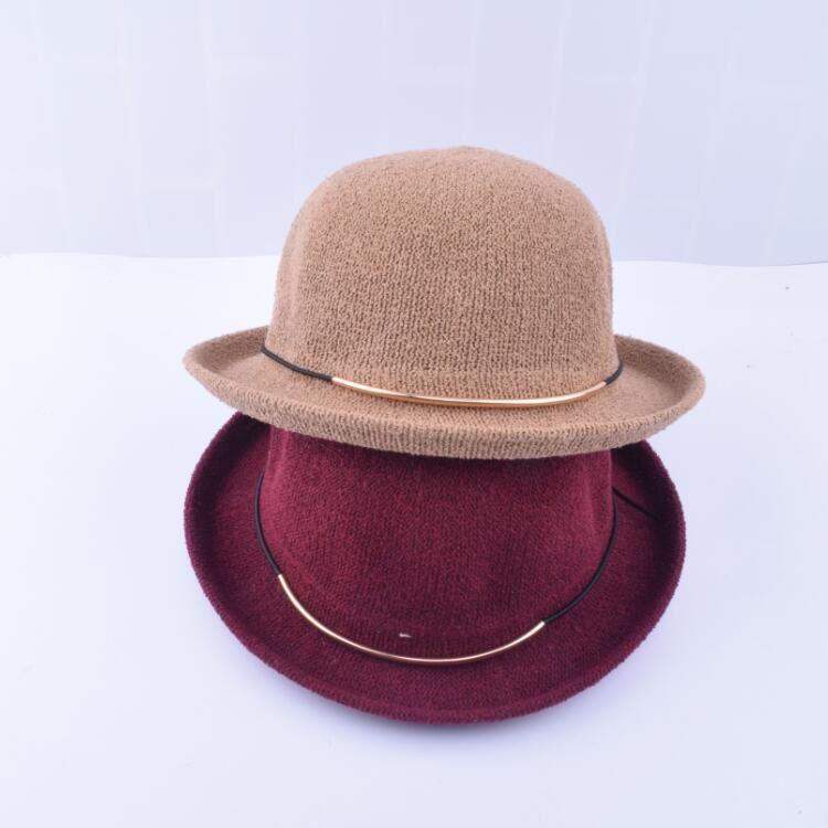 春夏帽子男女英伦复古黑色圆顶小礼帽夏季休闲潮贴布卷边渔夫盆帽