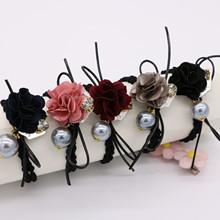 新款发饰韩玫瑰花合金珍珠水钻发圈精品头饰橡皮筋头绳批发
