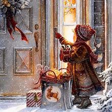 速卖通热卖外贸款圣诞夜雪中送礼物的小女孩钻石画墙贴装饰画