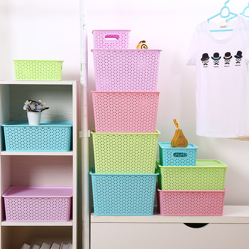 大中小号塑料可叠加收纳盒 镂空化妆品桌面收纳筐 衣服整理箱收