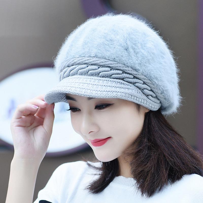 加绒獭兔帽子女士冬天韩版兔毛帽子新款冬季毛线帽加厚保暖针织帽