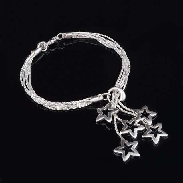 韩国明星同款镂空星手链 芒甜美首饰时尚学生情侣 吊五空星手链