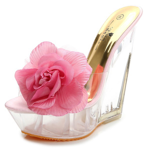 Flower Transparent slippers of Wedge