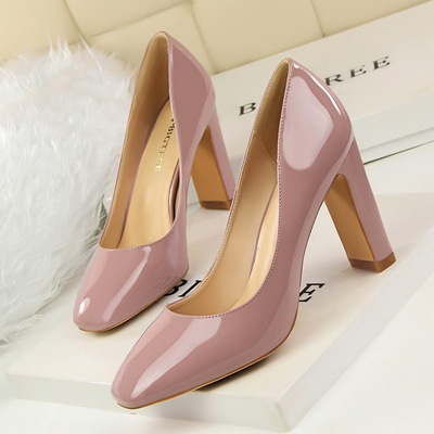 European and American fashion contracted style thick paint square shallow mouth high-heeled shoes's main photo