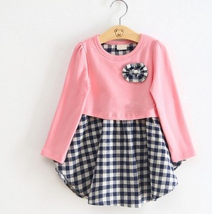 Bow knot, candy dress, princess skirt, autumn girl, pure cotton, plaid long sleeves, one on behalf of