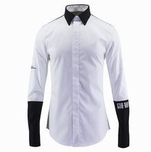 新款春夏 黑白拼接刺繡字母 布元素男裝時尚長袖襯衫潮牌襯衫男