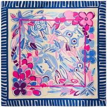 麥桐絲巾 90cm*90cm新款圍巾 花朵猴子動物頭像 女士絲巾大方巾