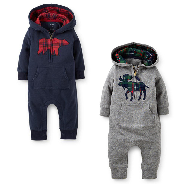 7bffd95925a6 Kids Baby Boy Warm Infant Romper Jumpsuit Bodysuit Hooded Clothes ...