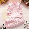 Children cotton warm underwear set wholesale baby cashmere cotton plus thickened long johns two sets of autumn and winte