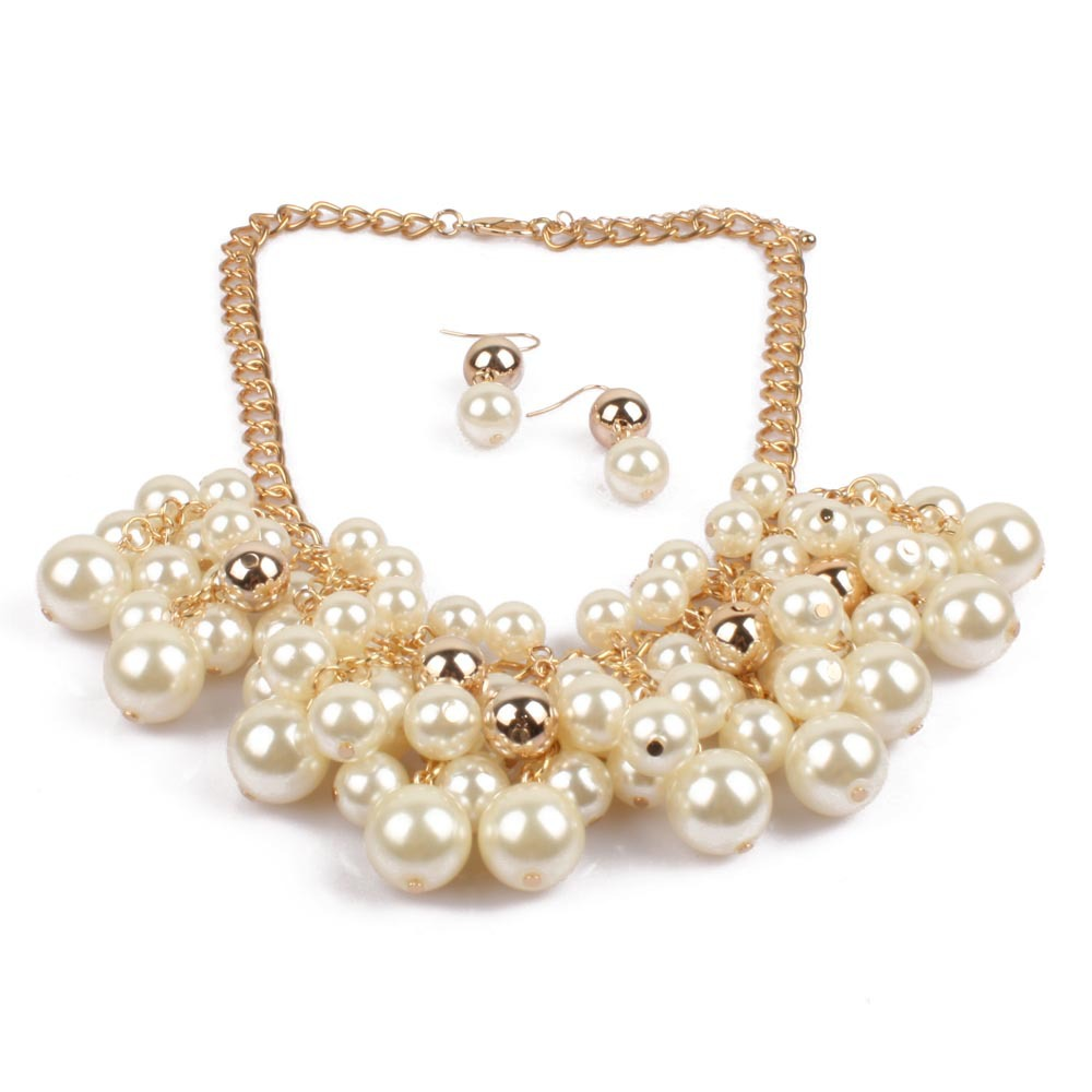 Women's Multi-layer Faux Pearl Simple Sweater Chain Tassel Necklace NHCT189832