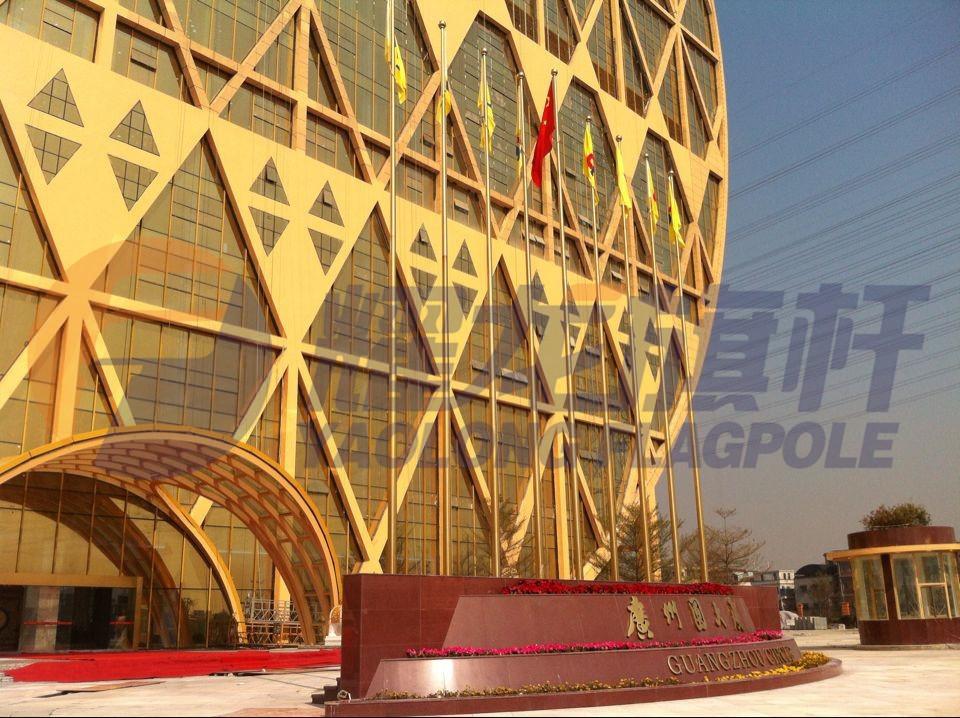 广州圆大厦镀钛金旗杆